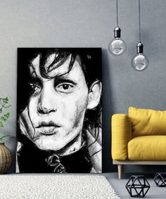 tableau-portrait-edward-aux-mains-argent-tim-burton-04 Tim Burton, Tableau Pop Art, Portrait, Black And White Style, Edward Scissorhands, Impressionism, Toile, Paintings, Drawing Drawing