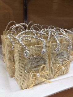 First Communion Burlap Favor Bags by FantastikCreations on Etsy, $48.00