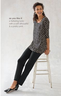 Wearever print ballet-sleeve tunic, wearever slim ankle pants  d'orsay leather skimmers | www.jjill.com