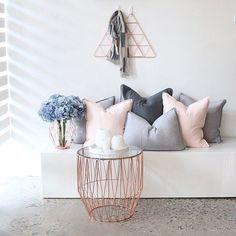 New Bedroom Grey Blush Pillows Ideas Living Room Grey, Home And Living, My New Room, My Room, Rangement Makeup, Gray Bedroom, Blush Grey Copper Living Rooms, Blush Grey Copper Bedroom, Copper Living Room Decor
