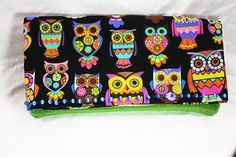 Fold-Over Clutch - Owl Print with Green Glitter Vinyl