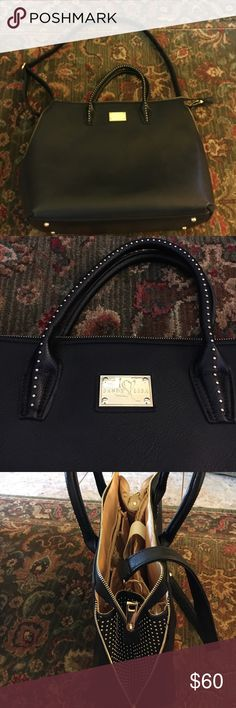 Sandy Lisa Black Satchel/Computer Bag Black studded XL satchel/computer bag with stud work on side. Plenty on interior pockets for phones, iPads, computers, books, etc. Great for students or professionals alike. Beautiful yet useful. Used only once, practically brand new Sandy Lisa Bags