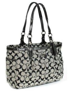 Coach 16561 Black/White Gallery Signature Tote Handbag [Coach 16561] - $189.00 : Shoppingberg!, Designer Clothing- Handbags- Accessories