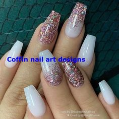 Awesome coffin nails are the hottest nails now. We collected of the most popular coffin nails. So, you don& have to spend too much energy. It& easy to find your favorite coffin nail design. Gold Acrylic Nails, Gold Glitter Nails, Rose Gold Nails, Nail Art Designs, Simple Nail Designs, Nail Art Blog, Nail Art Hacks, Nails Now, How To Do Nails