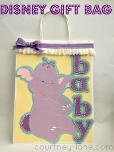 Disney baby gift bag made using the Pooh and Friends Cricut cartridge.