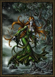Glaistig- Scottish myth: a female fuath that appears as a beautiful woman that is half goat. Her lower, goat half is covered by a long green robe or dress. She is often portrayed with grey or long yellow hair