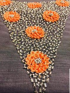 Zardosi Embroidery, Embroidery On Kurtis, Kurti Embroidery Design, Embroidery Neck Designs, Basic Embroidery Stitches, Bead Embroidery Patterns, Simple Embroidery, Beaded Embroidery, Chudi Neck Designs