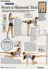 A lot of the Tracy Anderson workouts from Cosmo.