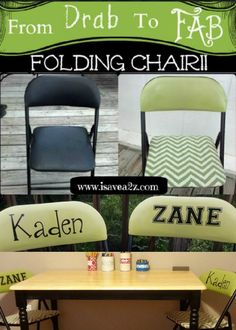 Drab to Fab folding chair makeover ON THE CHEAP!