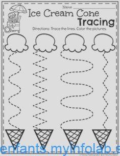 Preschool Tracing Worksheets in an Ice Cream Theme Preschool Learning Activities, Preschool Curriculum, Free Preschool, Preschool Lessons, Preschool Classroom, Preschool Crafts, Summer Preschool Themes, Vocabulary Activities, Spanish Activities