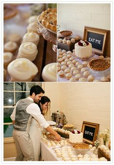 cupcakes and one bride & groom cake to cut