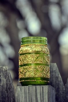GREEN Mason Jar Adorned with Trendy Henna by HennaArtDiaries