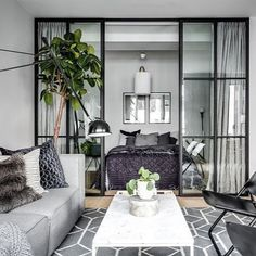 Gorgeous Studio Apartment Divider Decor Ideas And Remodel - - Studio Apartment Divider, Studio Apartment Layout, Small Apartment Interior, Studio Apartment Decorating, Apartment Living, Studio Layout, One Room Apartment, Small Apartment Design, Studio Design
