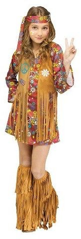 Girls' Peace and Love Hippie Costume