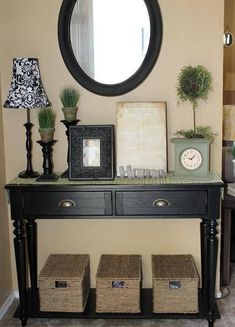 entryway idea i'd i use drop side table. plant & big basket. | for