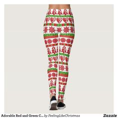 Adorable Red and Green Christmas Patterned Legging