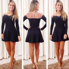 Black Sheer 2015 Homecoming Dresses Lace Applique A Line Crew Neck Long Sleeves Cheap Cocktail Dresses Under 100 Short Prom Gowns 2014, $34.82 | DHgate.com