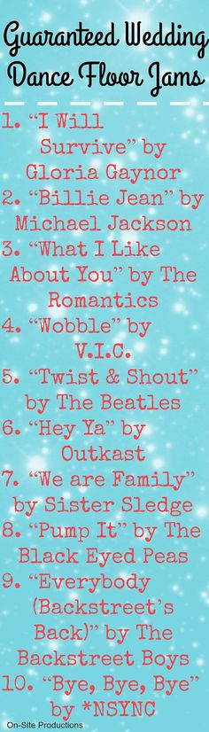 10 songs guaranteed to get your guests out on the dance floor with you! I love the mix of oldies and today--this is perfect for my wedding! The link to download the playlist is on the blog! Find the perfect tunes for your reception at www.pinterest.com/laurenweds/wedding-music?utm_content=bufferebcf8&utm_medium=social&utm_source=pinterest.com&utm_campaign=buffer
