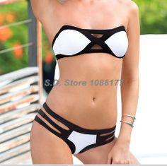 White Black Push Up Top With Bandage Bottom Swimsuit Women Bikini Set Online $12.99