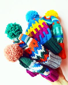 Hand knitted Mil Smith merino wool colourful beanies with pom poms Pom Poms, Beanies, Knits, Merino Wool, Hand Knitting, Dinosaur Stuffed Animal, Textiles, Inspiration, Color