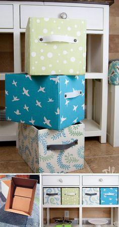 20 ideas de cajas de almacenamiento de bricolaje   Cuded Cardboard Furniture, Cardboard Crafts, Diy Furniture, Fabric Covered Boxes, Fabric Boxes, Diy Storage Boxes, Fabric Storage, Pinterest Room Decor, Food Box