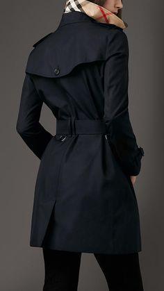 Mid-length Cotton Gabardine Trench Coat
