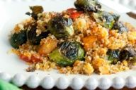 Roasted & Balsamic Glazed Brussel Spouts with Couscous #brusselsprouts #couscous #balsamic #vegetable #entree #recipe