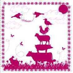 Geboortekaartje met koe, varken, schaap, haan, vogels, konijn en vlinders in gras