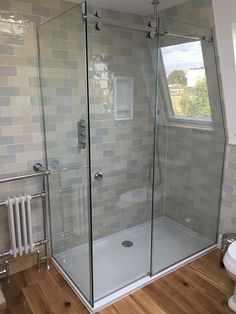 A made to measure shower can be manufactured to any size or shape. Utilizing space where a standard shower would not fit allows greater flexibility of bathroom layout, non more so than in a loft, an area with a sloping ceiling or reduced height. With a Glass360 shower you have all the features of our hinged enclosures, a beautiful frameless enclosure without compromise. Do you have an awkward shower space? To date Glass360 have not failed to design a solution for any shower location. Please…