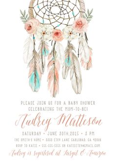 Boho baby shower invitation girl dream by kirrareynadesigns baby shower boho, baby shower invites for Boho Baby Shower, Baby Shower Invites For Girl, Girl Shower, Baby Shower Parties, Baby Shower Themes, Bohemian Baby, Boho Girl, Invitaciones Baby Shower Niña, Dream Catcher Boho