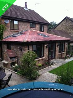Single Storey Extension with Skylights and slanted roof to avoid windows - possible rear wall window set up? House Extension Design, Extension Designs, Roof Extension, Extension Ideas, House With Porch, House Front, Wooden Lodges, Single Storey Extension, House Extensions