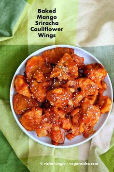 Mango Sriracha Cauliflower Wings - Baked | VeganRicha.com