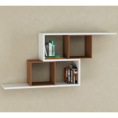 Zerre Bookcase in White and Walnut - Casafina