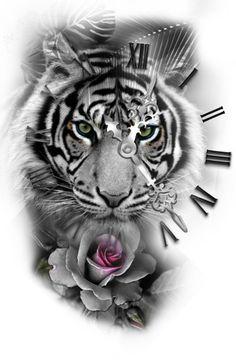 tiger with roman clock rose tattoo design – Rose Tattoos Tiger Tattoo Design, Clock Tattoo Design, Tattoo Designs, Tattoo Ideas, Tiger Design, Tiger Tattoo Sleeve, Sleeve Tattoos, Tiger Thigh Tattoo, White Tiger Tattoo