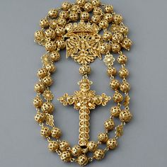 Antique Spanish Victorian Gold Filigree Rosary Necklace | 14k yellow gold | ca. 1870