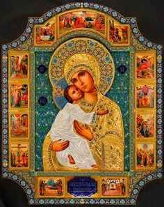 икона Божьей Матери Владимирская, серебряный оклад, серебро, купить, заказать, горячие эмали, филигрань, перегородчатая эмаль