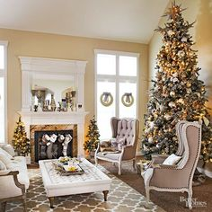 For a look that's festive but calm, try an array of metallic decorations. A great option for neutral homes -- your year-round decor will look like it was handpicked for your Christmas living room.