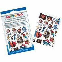 Snazaroo Temporary Tatoos 20/Pkg-Boys 2 Pack by Reeves. $6.93. 1198313. Reeves. 766416083135. Brand New Item / Unopened Product. REEVES-Snazaroo: Assorted Temporary Tattoos. Have some fun with these temporary tattoos! Just apply with water and remove with baby oil. This package contains twenty assorted tattoos. Design: Pirates. Ages 6 and up. WARNING: SMALL PARTS. Not for children under 3 years. Ingredients comply with EC Cosmetic Safety Directive and US FD Act. Im...