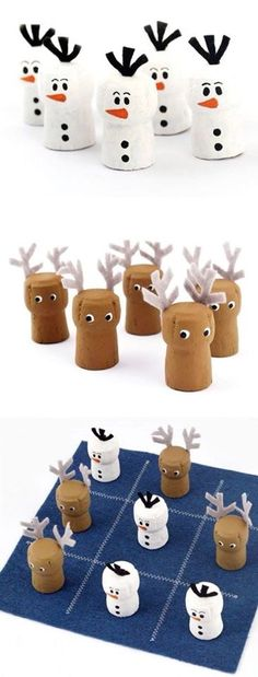 Tic-Tac-Snow DIY Wine Cork Game of Tic-Tac-Toe - a super cute twist to an ever enduring classic Christmas Activities, Christmas Projects, Kids Christmas, Holiday Crafts, Wine Craft, Wine Cork Crafts, Bottle Crafts, Champagne Cork Crafts, Kids Crafts