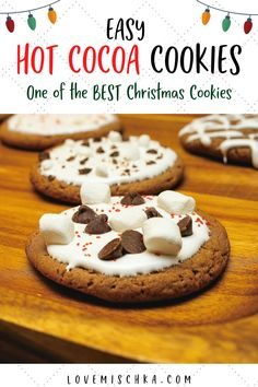 These chewy, easy, and quick hot chocolate cookies are one of the best Christmas Cookie recipes. Made with REAL hot cocoa mix and topped in marshmallow creme, they taste like the cozy, holiday treat. #swissmiss #holidaydesserts #christmasbakingideas #easychristmastreats