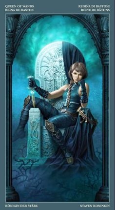 Queen of Wands by Barbieri tarot. Some fantasy art looks like it belongs in a tarot deck. The art from this deck looks like it was designed as fantasy artwork and only later put into a tarot deck. Fantasy Women, Fantasy Girl, Light Armor, Character Portraits, Character Art, Fantasy Characters, Female Characters, Fantasy Art Warrior, Serpieri