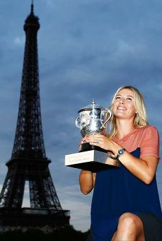 Maria Sharapova with her French Open trophy.
