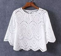 2016 Summer Blouse Shirt Women Half Sleeve O Neck Hollow Crochet Embroidery Lace Cotton Blouse Shirt White Tops Casual Clothing White Cotton Blouse, Cotton Blouses, Shirt Blouses, Cotton Tee, Blouse Styles, Blouse Designs, Lace Top Dress, Shirt Embroidery, Summer Blouses