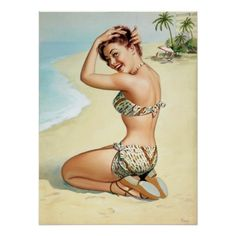 Tropical Beach Pin Up Poster