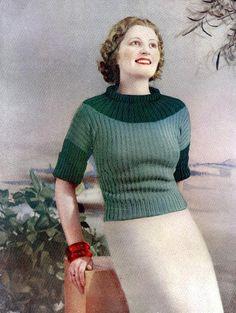 Girl in Green Sweater Vintage 1934, craftsy, Pamoola vintage