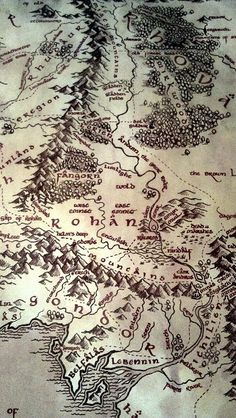 Middle Earth Map. (from J.R. Tolkein's Lord of the Rings)