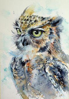 Owl Print featuring the painting Owl by Kovacs Anna Brigitta
