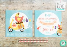 faire-part, naissance, birth, baby shower, poule, hen, scoter, bleu, blue, bébé, baby, pink, rose, illustration, studio-lou.fr/