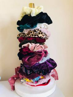 Scrunchies have taken over my life: Scrunchie tour - - Baby Bean Potter - Scrunchie storage The Effective Pictures We Offer You About hair scrunchie hairstyles A quality pi - Popular Hairstyles, Cute Hairstyles, Hair Tie Storage, Hair Accessories Holder, Diy Scarf, Tiny Flowers, Crushed Velvet, Vintage Fabrics, About Hair