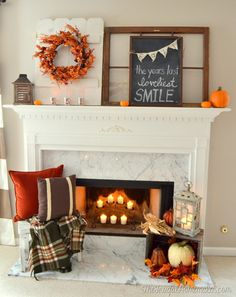 Fall mantel with vintage and thrifted finds and a chalkboard